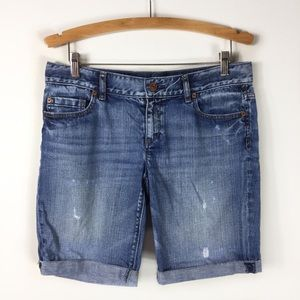 Loft Cut Off Distressed Denim Bermuda Shorts 4